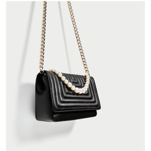 Zara quilted leather handbag with faux pearls